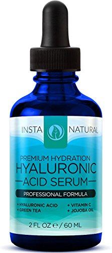 InstaNatural all'acido Ialuronico Siero - Il miglior prodotto anti-invecchiamento per il viso - Con siero alla vitamin C, vitamin E & tè verde - Riduce le rughe, grandi e piccole, e altro - 2 OZ