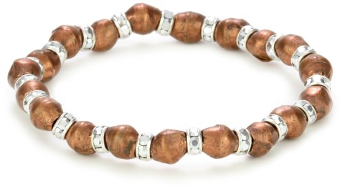 Vanessa Mooney Copper and Labradorite-Color Silver Rocker Bracelet