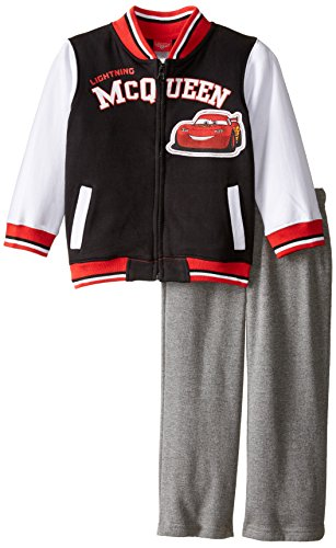 Disney Little Boys' 2 Piece Lightning McQueen Stadium Jacket Set, Black, 2T