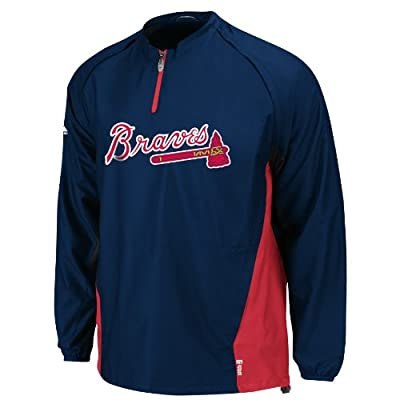 MLB Atlanta Braves Triple Peak Gamer Navy Red Long Sleeve Lightweight 1/4 Zip Gamer Youth Jacket, Navy Red