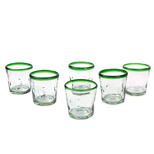 NOVICA Artisan Crafted Clear Green Rim Hand Blown Recycled Glass Tumbler Glasses, 9 oz. 'Lime Freeze' (set of 6)