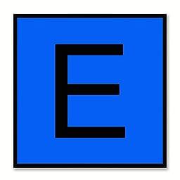 Alphabet E Blue Canvas Print Black Frame Kids Bedroom Wall Décor Home Art