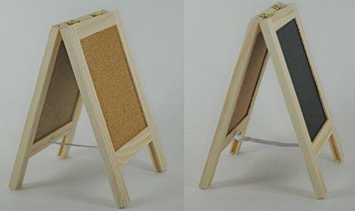 Dual-Standing-Chalkboard-Sign-and-Cork-Bulletin-Board-4-Tabletop-Mini-Freestanding-Wooden-Easel-Blackboard-Pin-Message-Memo-Board