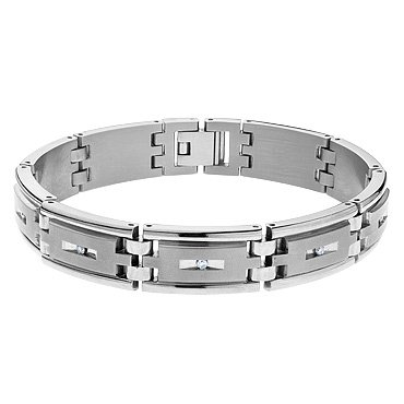 Men's Titanium Diamond Bracelet 1/4ctw