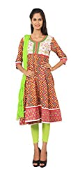 Rama Suit Set of Multicolor Zig Zag Print Round Neck 3/4 Sleeve Women Anarkali with Lime Green Color Legging & Duppatta