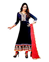 Zerel Blue and Bright Pink Anarkali With Rich Embroidery Work, Semi Stitched Salwar Suit