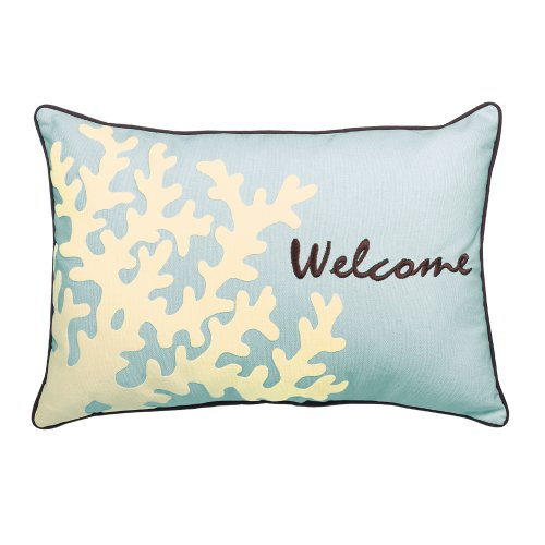 Grasslands Road Beach House Embroidered Oblong Accent Pillow, 9 By 14-Inch