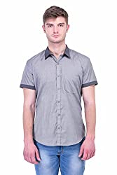 Trendster Grey Solid Half Sleeve Casual Men's Shirt