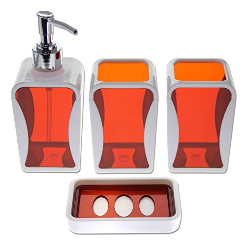 Justnile Contemporary 4 Piece Bathroom Accessory Set Bright Orange Health Beauty Personal Care