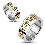 STR-0006 Stainless Steel Gold IP Maze Pattern Center Band Ring; Comes With Free Gift Box (10)