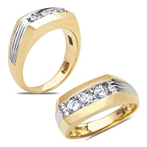 Men's 1/2CT Diamond 3 Stone Ring in 14k Yellow Gold with Patent Comfort Fit Hallow Closed Back