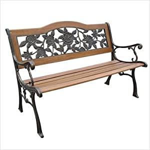 Dc America Slp2660brsp Rose Resin Back Park Bench Cast Iron Legs Rust-free Resin Back And Hardwood Slats Rust Resistant Bronze Finish from DC America