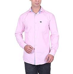 Cotblend Men's Casual Shirt (CB-FLFL-Pink-L, Pink, L)