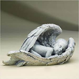 Roman Baby Sleeping In Angel Wings 15in Statue