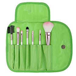Imported 7pcs Soft Cosmetic Makeup Blush Eyeshadow Brush Set + Pouch Bag Case Green