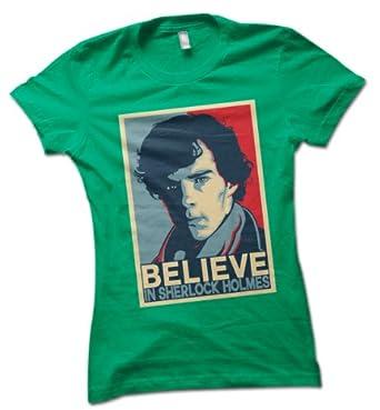 "Sherlock Holmes ""Believe"" Ladies T-Shirt Spring Green Small 8 - 10"