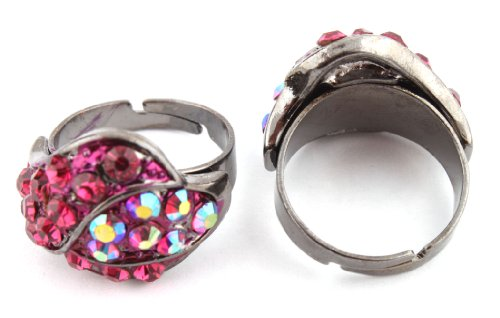 Ladies Two Tone Black with Fuschia Overlapping Style Adjustable Finger Ring