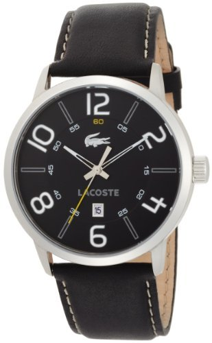 Lacoste Barcelona Black Dial Leather Strap Mens Watch 2010499