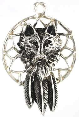 Wolf Dream Catcher Amulet Talisman Charm Pendant