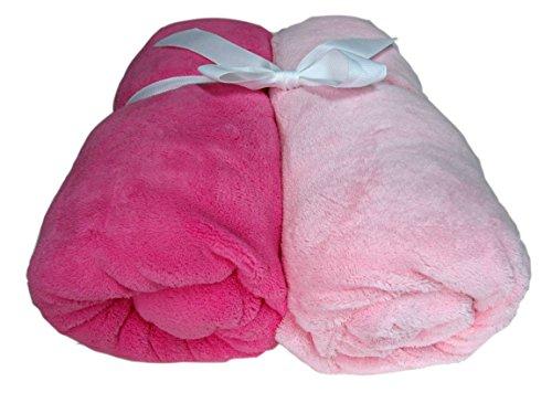Cozy Fleece Microplush Fitted Crib Sheet, Pale Pink/Dark Pink