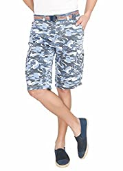 LD Active LTF666 Men's Regular Fit Poly Cotton Shorts - SKY BLUE