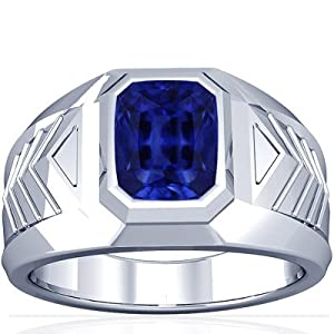 Platinum Emerald Cut Blue Sapphire Mens Ring (GIA Certificate)