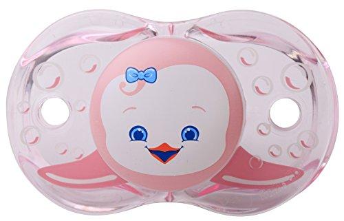 RaZbaby Keep-It-Kleen Pacifier, Rosa Penguin, 0-36 Months - 1