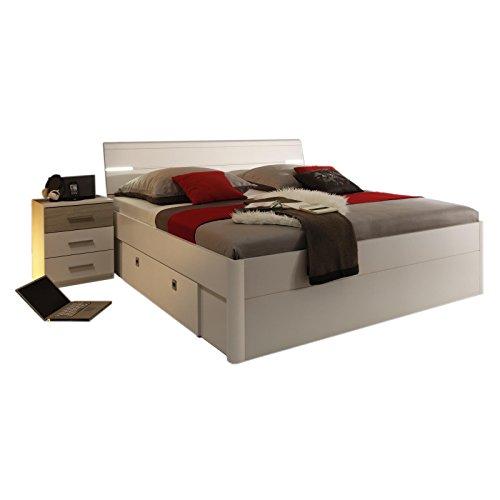 Bettanlage-MAXI-Doppelbett-180x200-weiss-Eiche-Sonoma-mit-LED-Beleuchtung-Bettschubksten-und-Nachtkommoden