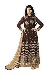 Monika Silk Mill Presents Brown Designer Dress Material