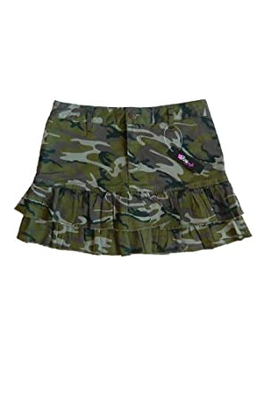 a line ruffled mini skirt in camouflage at