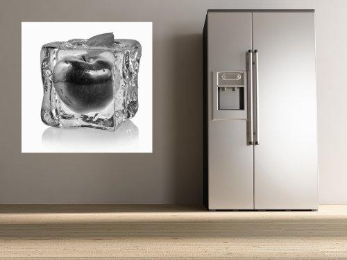 """Bilderdepot24 pajetée peint photo autocollant - autoadhésif """"Glaçons avec pomme rouge - noir et blanc"""" 100x100 cm - vente directe fabricant!"""