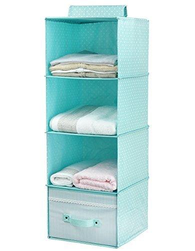 Suspendre-Vtements-de-stockage-pour-les-enfants-avec-tiroir-4-units-de-rayonnage-Closet-Organizer-pour-vtements-et-accessoires-mignon-couleur-vert-menthe