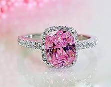 buy 18K White Gold Gp Pink Austria Swarovski Crystal Lady Bridal Wedding Engagement Ring R24C (9)