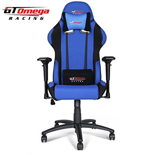GT Omega PRO Racing Office Chair Black and Blue Fabric