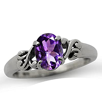 1.13ct. Natural African Amethyst 925 Sterling Silver Victorian Style Solitaire Promise Engagement Ring