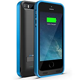 iPhone 5S Battery Case, iPhone 5 Battery Case - Maxboost Atomic S Portable Charger for iPhone 5/5S [MFI Certified] External Protective 2400mAh Battery Charging Juice Power Bank [Matte Black/Blue]