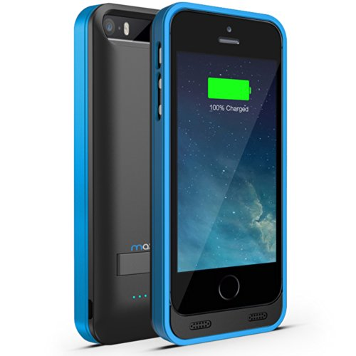 Maxboost Atomic S External Protective Iphone 5S Battery Case / Iphone 5 Battery Case With Built-In Kickstand - Matte Black / Blue (Apple Mfi Certified, Fits All Versions Of Iphone 5 / 5S - Lightning Connector Output, Microusb Input ) [100% Compatible With