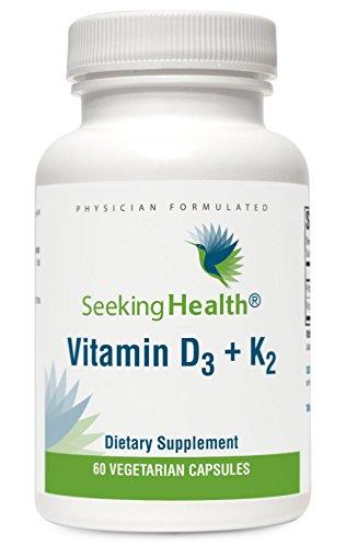 Vitamin D3 + K2 | Provides 5000 IU Vitamin D3 and 100 mcg Vitamin K2 | 60 Vegetarian Capsules | Seeking Health (Vitamin D And K2 Supplement compare prices)