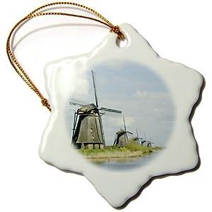 3dRose orn_82317_1 Netherlands, South Holland, Kinderdijk, Windmill EU20 JEN0217 Jim Engel Brecht Snowflake Porcelain Ornament, 3-Inch
