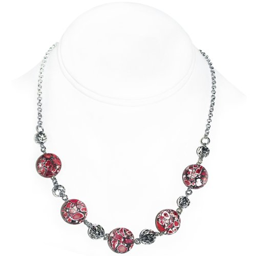 925 Sterling Silver Necklace with Red Howlite [Jewelry]