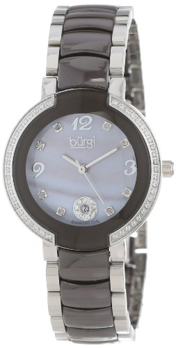 Burgi Women's BUR072BR Mother-Of-Pearl Diamond Ceramic Bracelet Watch