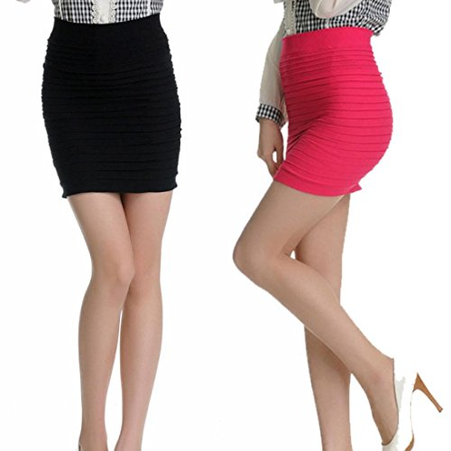 """Gonna Sexy, Reasoncool Minigonna donna elastico pieghe vita alta dell'anca del pacchetto (Formato libero-Vita:23.6 """"-33,1"""", Nero)"""