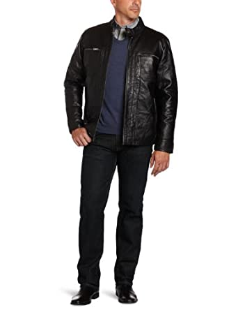 IZOD Men's Leather Jacket, Black, Small
