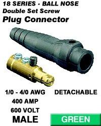 Leviton 18D24-G 18 Series Male Detachable Plug Double Set Screw Complete - Green (Pkg Of 5)