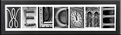 Imagine Letters 7-opening, White Matted Black Photo Collage Frame (Letter Art Pictures compare prices)