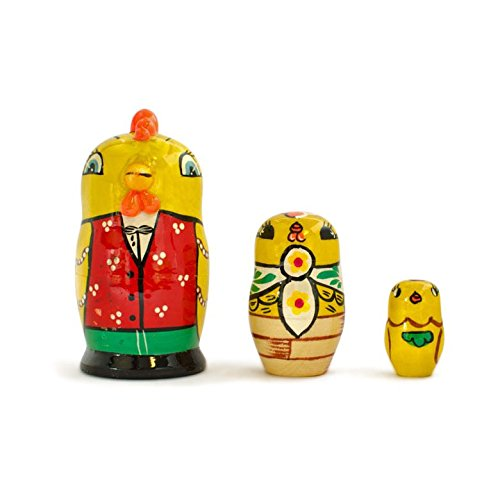 3.5'' 3 Rooster And Chicks Wooden Russian Easter Nesting Dolls