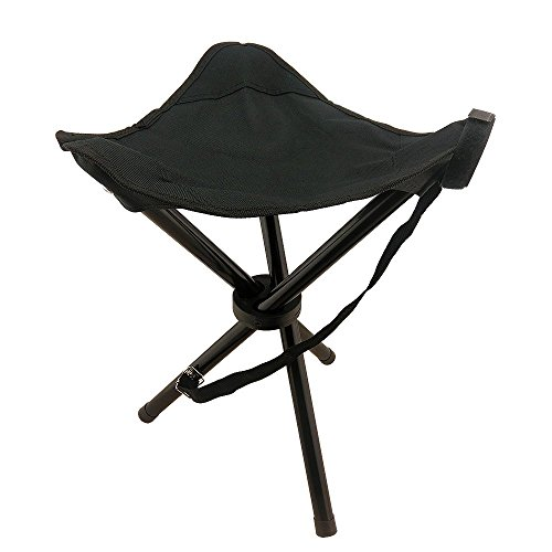 Joshow Tri-Legged Foldable Stool for Fishing, Camping, Travelling, Gardening & Outdoor Recreation, Made of High-grade Oxford Fabric & High Tensile Steel Tube, Black Color