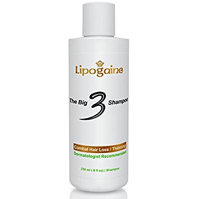 Lipogaine Big 3 Premium Hair Loss Prevention shampoo for Men and Women (2 in 1 formula)- 8 oz.