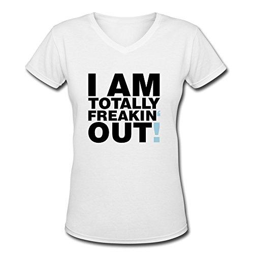 Tasy 100% Cotton V-Neck Women'S Totally Freakin Out T-Shirt - L White