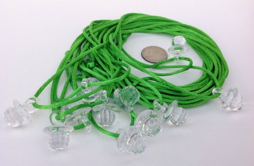 "24 Pcs 1"" Mini Clear Fancy Plastic Pacifier Necklaces ""Don'T Say Baby!"" For Baby Shower Party Game/ Favors front-435411"